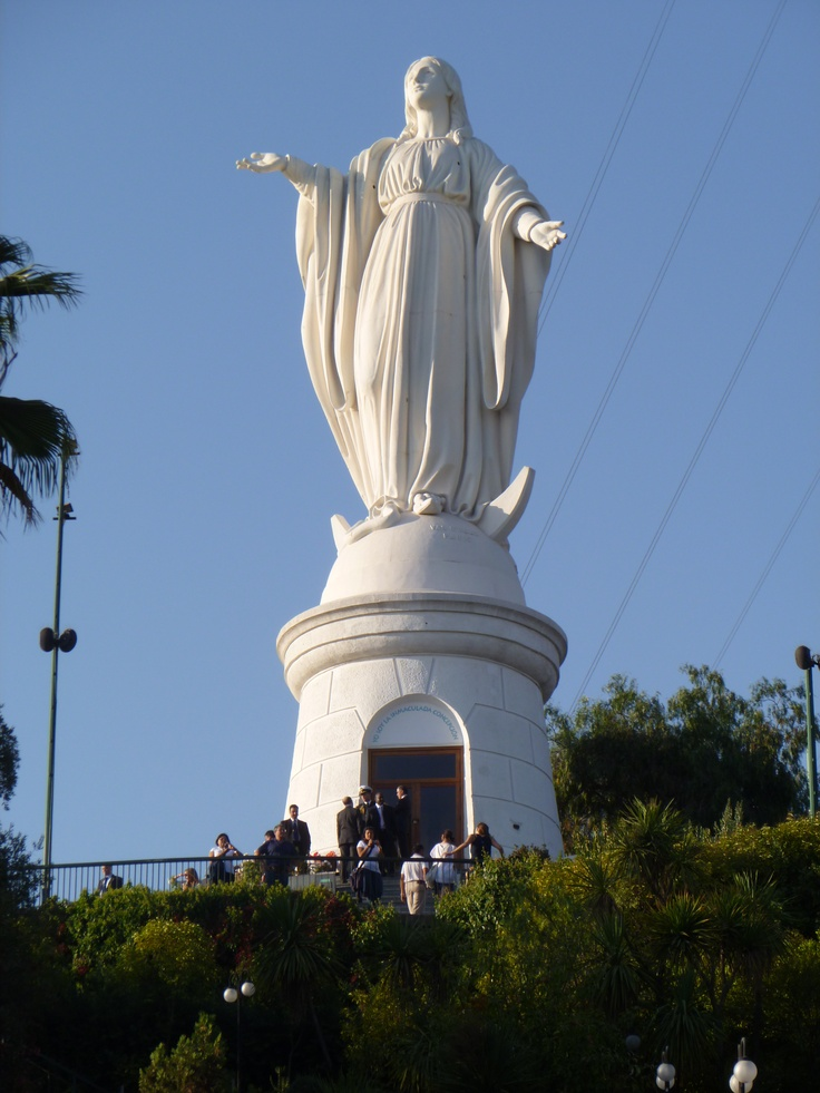 Cerro San Cristibal - Santiago, Chile  Mom and I took the tram up to see her.  She overlooks the city.
