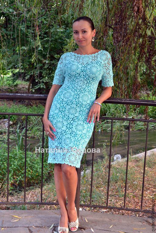 """Купить Платье """"Изыск ментола"""" - мятный, цветочный, летнее платье, вязанное платье, платье крючком"""