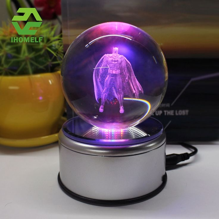 32.82$  Watch now - http://alibww.shopchina.info/1/go.php?t=32808159268 - Batman 3D Crystal Ball Lamp iron Man Death Star Glass Ball Engraving Round With LED Colorful Rotation Base Child's Gift 32.82$ #aliexpressideas