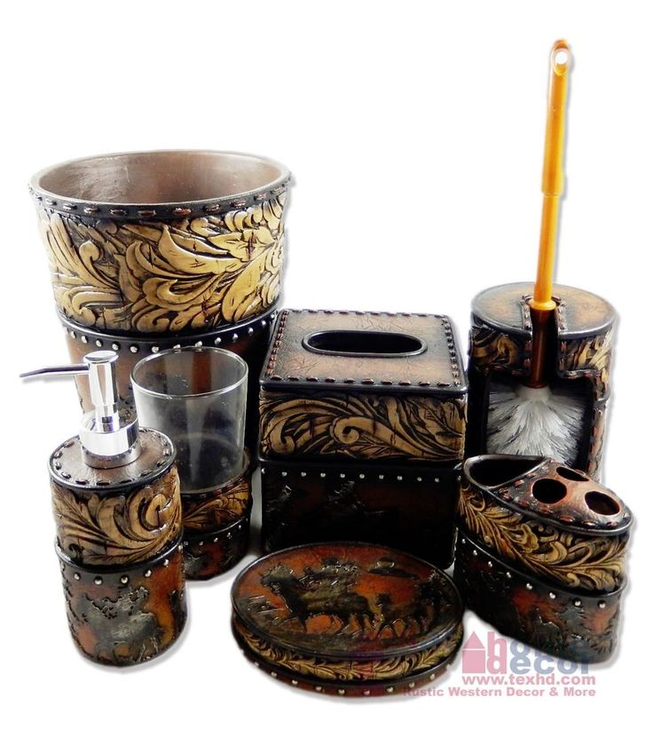 Western Flowery Bathroom Accessory Set 7 Pieces Rustic Leather Look Studs  Horses
