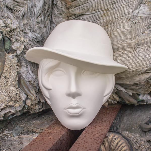 """Lady With Fedora Hat Mask 7.5 """" Ready to Paint Pottery Ceramic Bisque"""