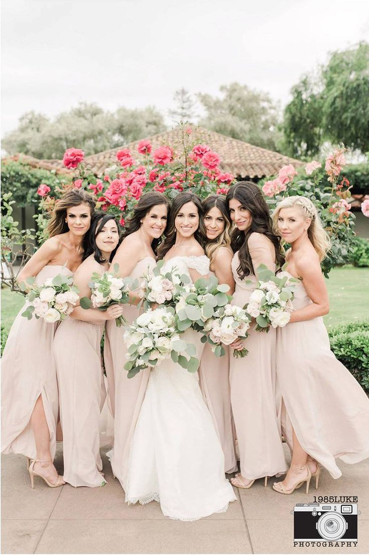 362 best bridal besties images on pinterest bridesmaids our elegant neutral wedding with blush bridesmaid dresses ombrellifo Choice Image