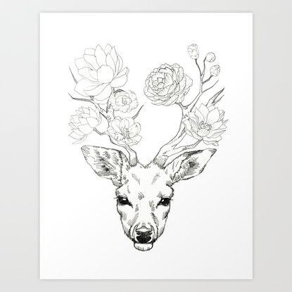Dear, Deer flower Art Print by Minyo Planet | Society6