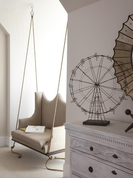 Interesting Suspended Chair With His Hands With White Wall Wallpaper Plus  Wooden Dressing Table Thwn White