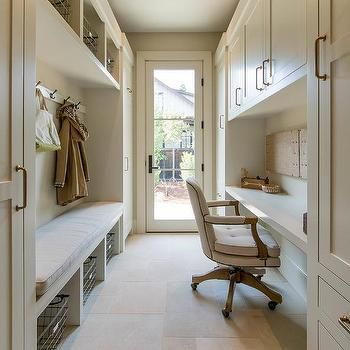 Long Galley Style Mudroom and Office Combo