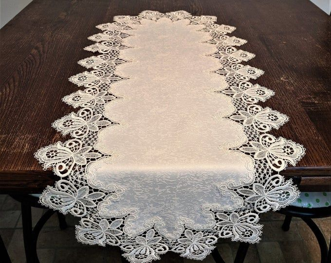 Table Runner Dresser Scarf Table Cloth Place Mat Or Doily Etsy In 2020 Linen Table Runner Table Cloth Lace Table Runners
