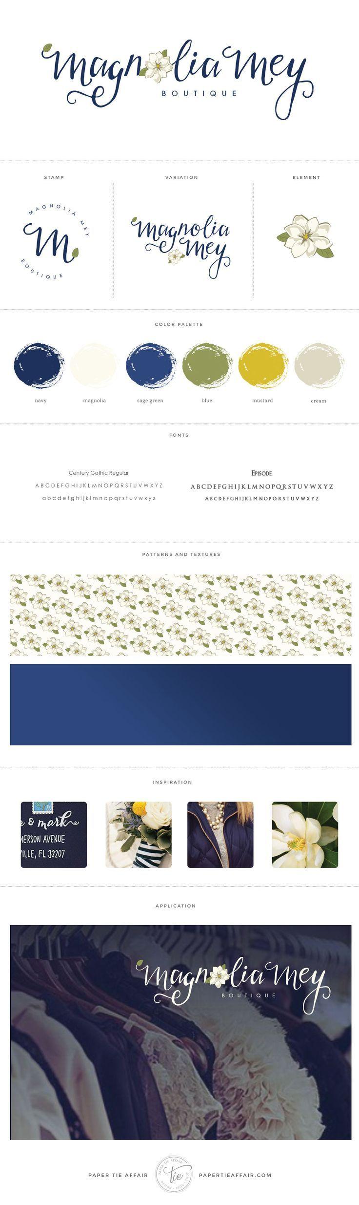 Magnolia Mey Boutique - Navy and green rustic modern logo design