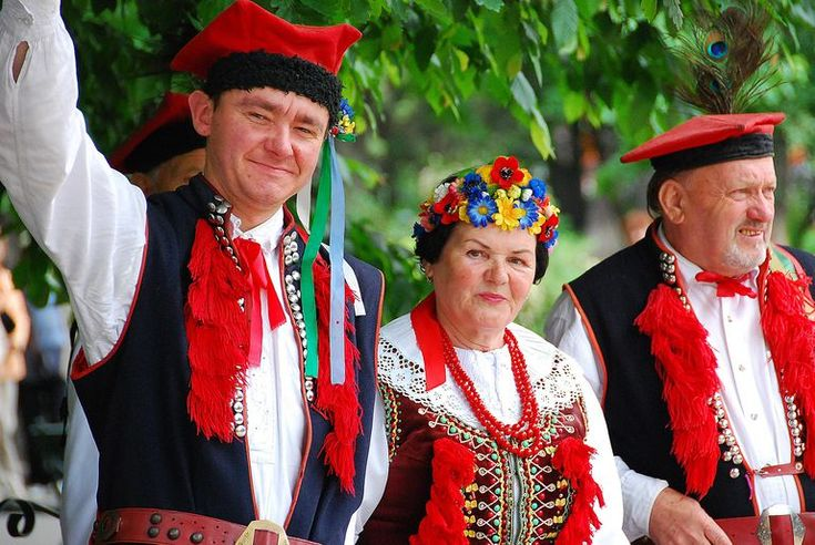 A group of adult Poles in traditional polish costume in Krakow, Poland.