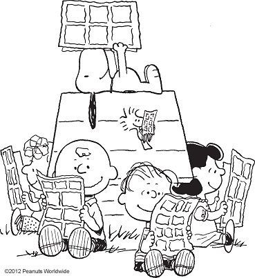 Peanuts reading the Sunday funnies (a ritual when I was growing up)