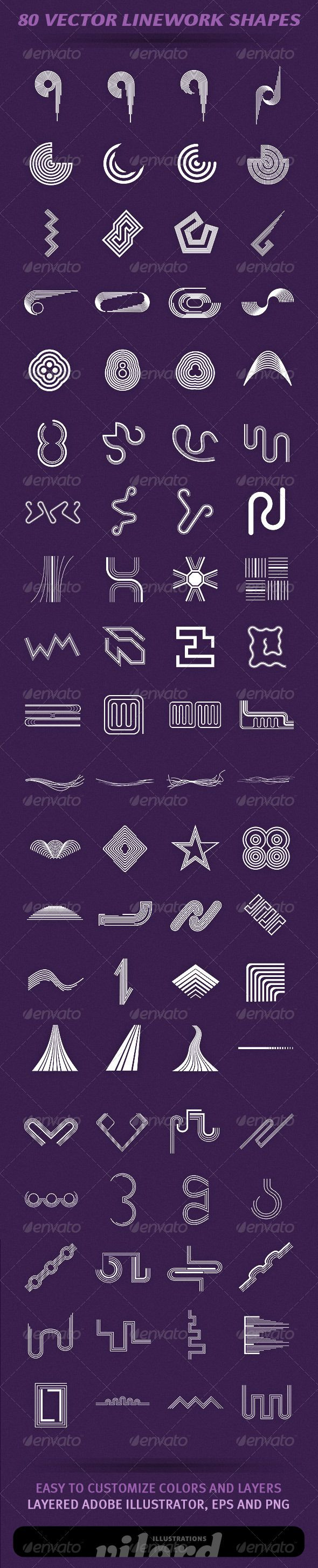 80 Vector Linework Shapes