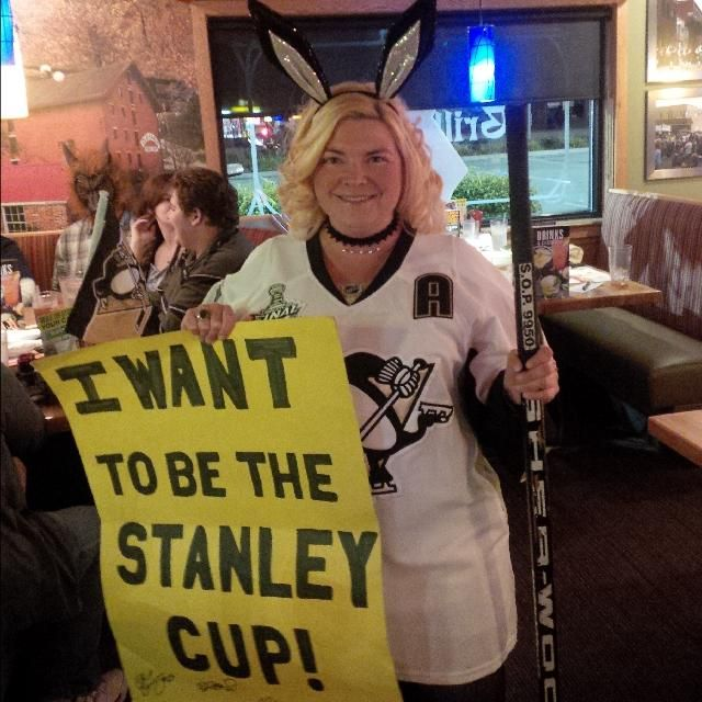 puckbunny costume with sign and authentic hockey stick - Puck Bunny Halloween Costume