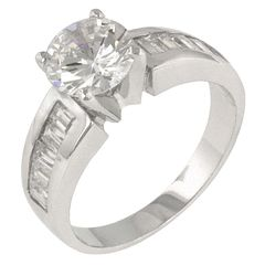 Engagement Ring with Channel Set Baguette CZ  USA IMPORT www.luckysilver.co.za