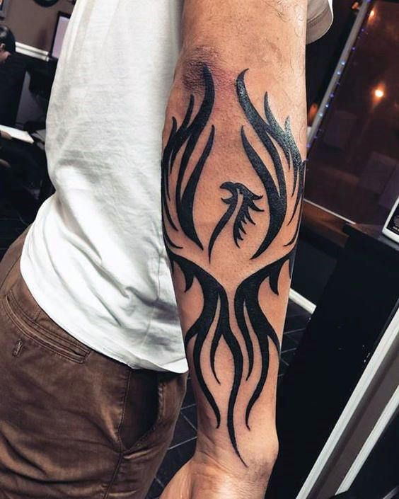 Masculine Mens Full Forearm Black Ink Tribal Phoenix Tattoos