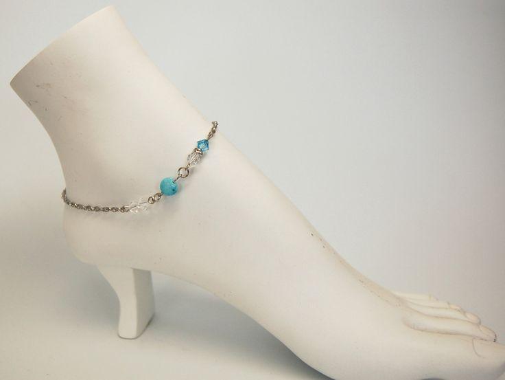 Bracelet cheville bijoux cheville chaine pied bijou élégant chic cristal bijou acier inoxydable Création Cristal Ev. #Agata de la boutique CristalEv sur Etsy
