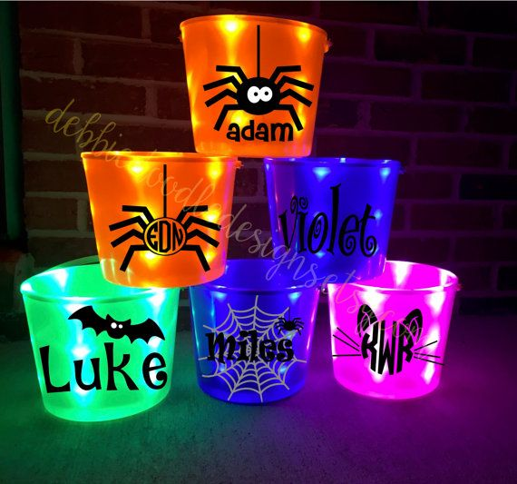 PURPLE Halloween Light Up Bucket by DebbieDoodleDesigns on Etsy