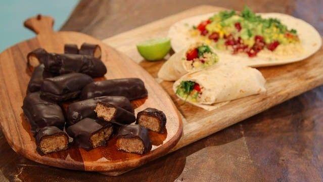 Tasty burritos and chocolate caramel bars