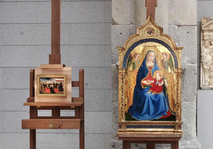 Las dos obras que hasta ahora pertenecían a la Casa de Alba y que ahora han pasado a engrosar los fondos del Museo del Prado. A la izquierda, Funeral de san Antonio Abad, h. 1426-30, témpera sobre madera de chopo, 29,2 x 19,5 cm.