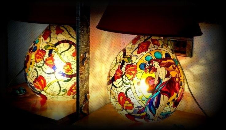 La01 Sole Lampada dipinta a mano | Hanùl style, borse dipinte a mano e accessori dipintiHANUL di Giorgino Daniela