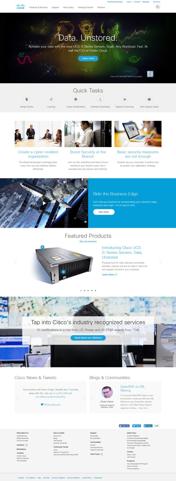 Cisco website in 2016