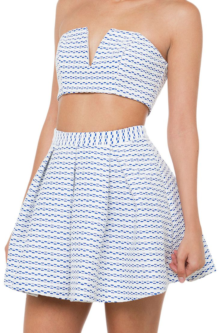 A Good Day Blue White Mini Skater Skirt features a high banded waist, pleats, and an exposed back zipper closure. Free standard U.S. shipping $75+.