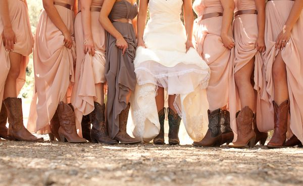 Add a little dash of country and dress your bridal party in cowboy boots! // Applemoon Photography