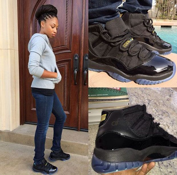 9e49ee7a11a ... foot 10; allyson felix in a personalized pair of the air jordan 11  gamma blue celebrity sneaker stalker ...