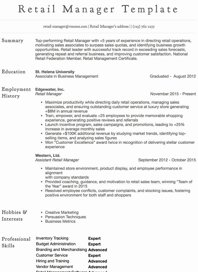 Retail Store Manager Resumes Elegant Cashier Resume Sample Professional Examples In 2020 Retail Resume Examples Customer Service Resume Job Resume Examples