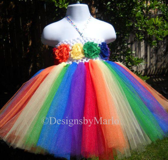 Rainbow tutu dress red orange yellow green blue purple tutu 2T 3T rainbow pageant dress rainbow flower girl dress tutu dress via Etsy