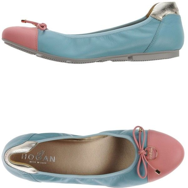 Hogan Ballet Flats (275 AUD) ❤ liked on Polyvore featuring shoes, flats, azure, round toe ballet flats, hogan shoes, leather flat shoes, bow shoes and leather flats