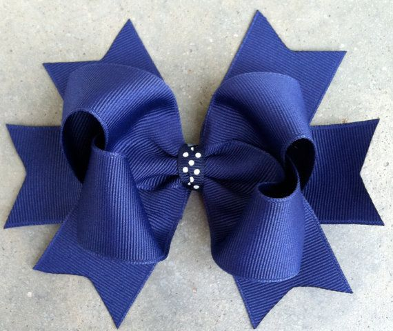 Navy Blue Hair Bow Large 5 Boutique Style Hair Bow with Bow & Spikes