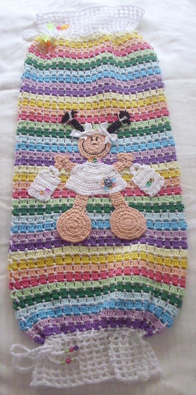 Dispensador de bolsas de plastico a crochet hogar - Dispensador bolsas plastico ...