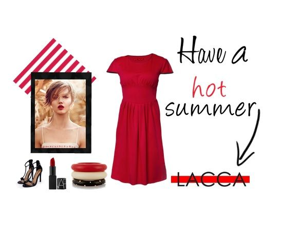 For hot summer evenings we advise our red dress with sewn embellishments. With LACCA you can be elegant and sexy all at once.
