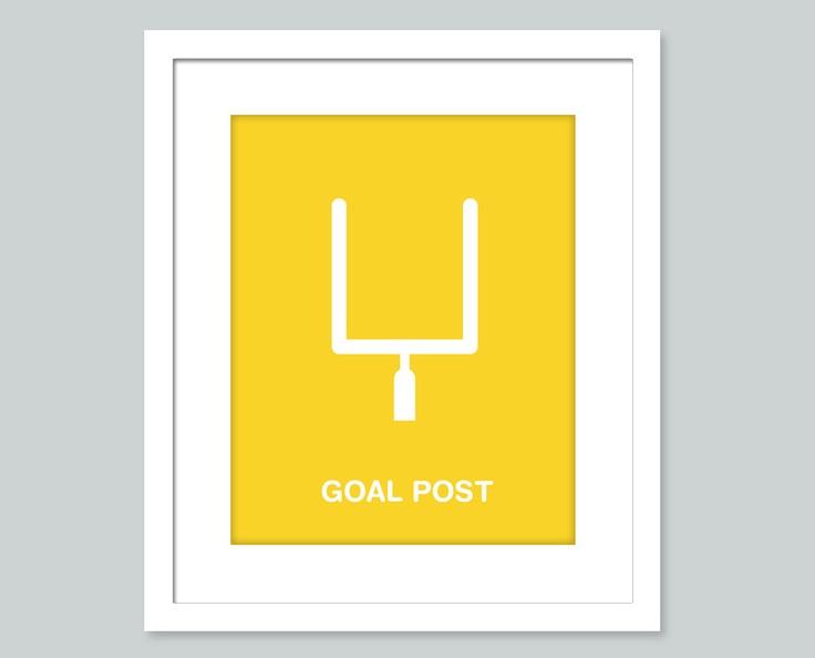 Football art print - football decor- 8x10 poster- baby nursery, playroom or kids room art - sports poster. $15.00, via Etsy.