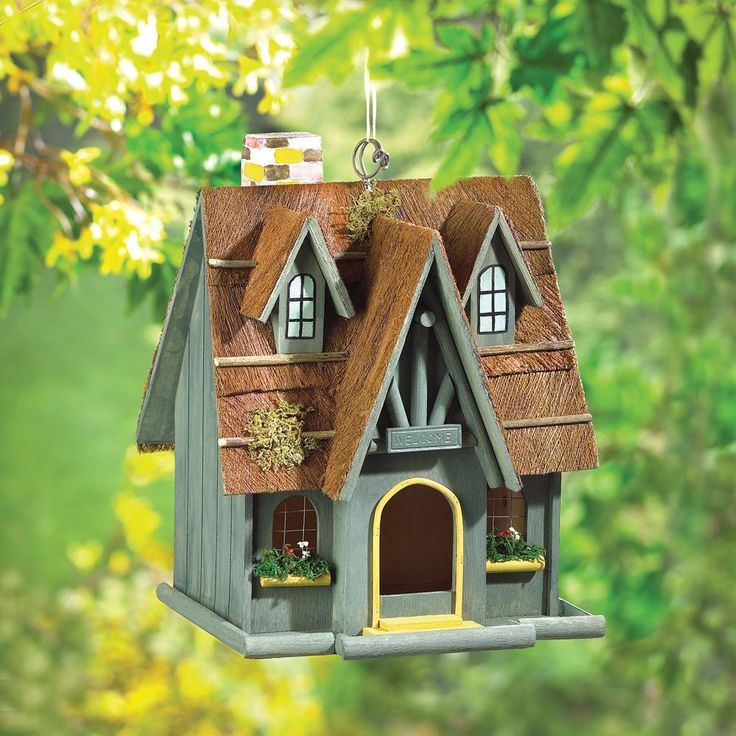 "THATCHED ROOF  COTTAGE BIRDHOUSE - 12 1/2"" HIGH - WOOD - MDF PLYWOOD - GREEN #SongBirdValley"