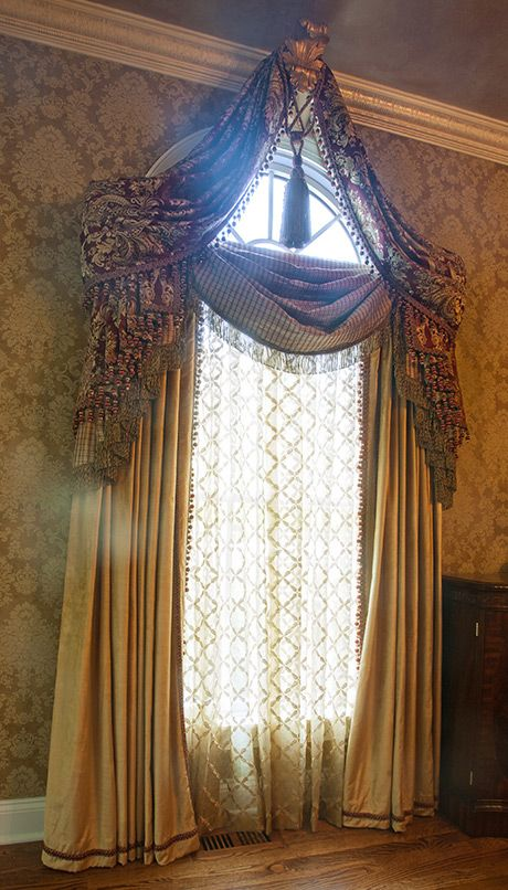 Victorian inspired window; drapes, valance & small corbel attached to crown molding to finish