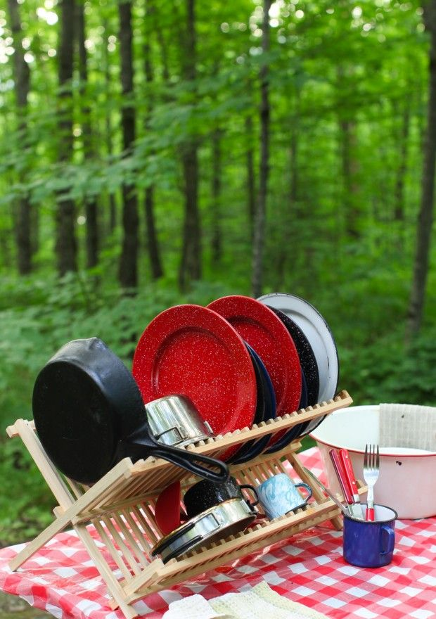 """I need to remember to get a drying rack for our camp dish station! """"How to wash dishes when camping 