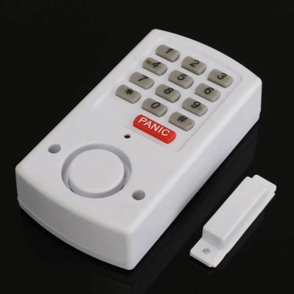 Description:  	    		Wireless Panic Alarm with Security Keypad for Garden Shed Garage Door Window  		    	Features:   	   	Wireless door/ window alarm, use as a intruder/ burglar deterrent. 	This alarm system is great for doors, sheds, garages or sliding doors. 	With no...
