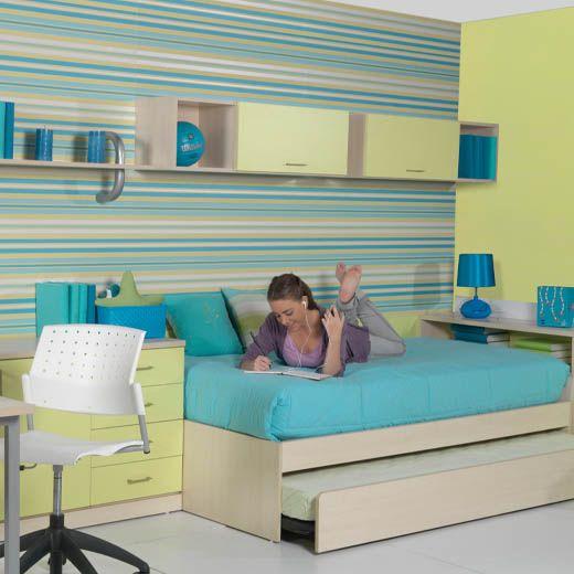 Dormitorio juvenil crema, azul y verde
