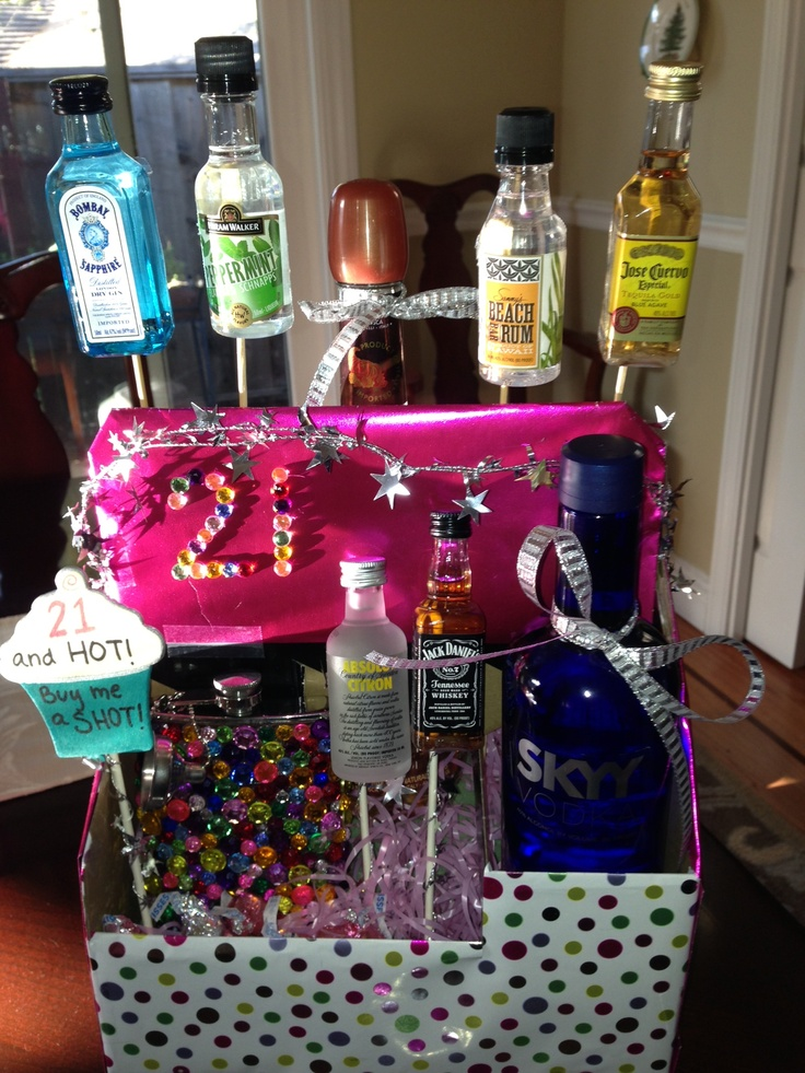21st Birthday Gift Basket Alcohol : Best images about alcohol gifts on