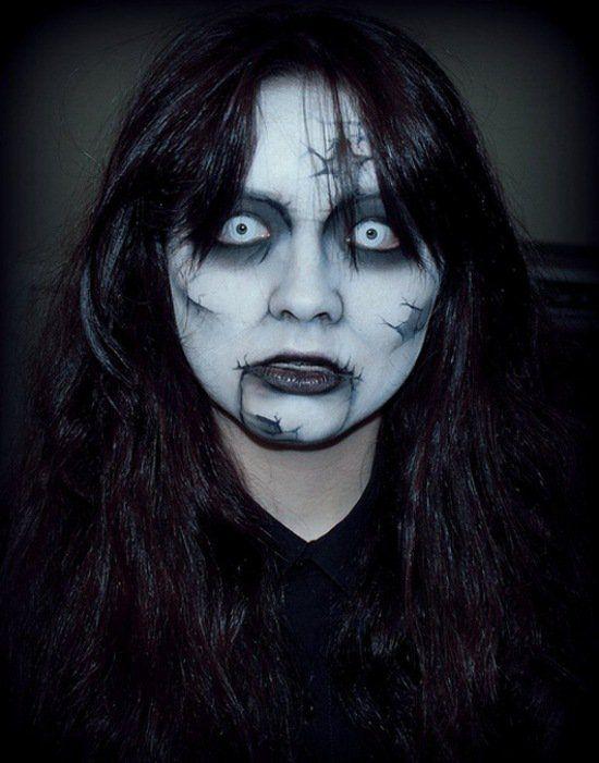 d`Halloween idee voor op een enge make-up
