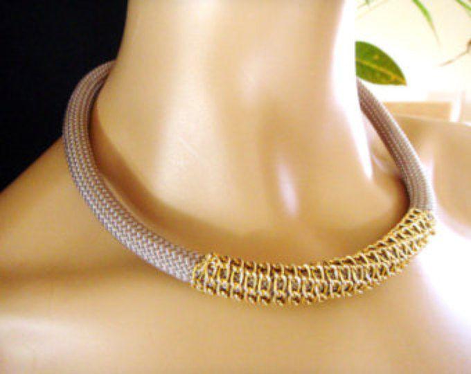 Collana di corda, nautica vela collana, collana, collana tribale, grigio grigio o placcato in oro e turchese corda catena