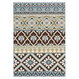 Indoor/outdoor rug with a Southwestern-inspired design.  Product: RugConstruction Material: PolypropyleneColor: Chocolate and blueFeatures:  Made in TurkeyPower-loomedSuitable for indoor and outdoor use Note: Please be aware that actual colors may vary from those shown on your screen. Accent rugs may also not show the entire pattern that the corresponding area rugs have.Cleaning and Care: Sweep, vacuum or rinse off with a garden hose