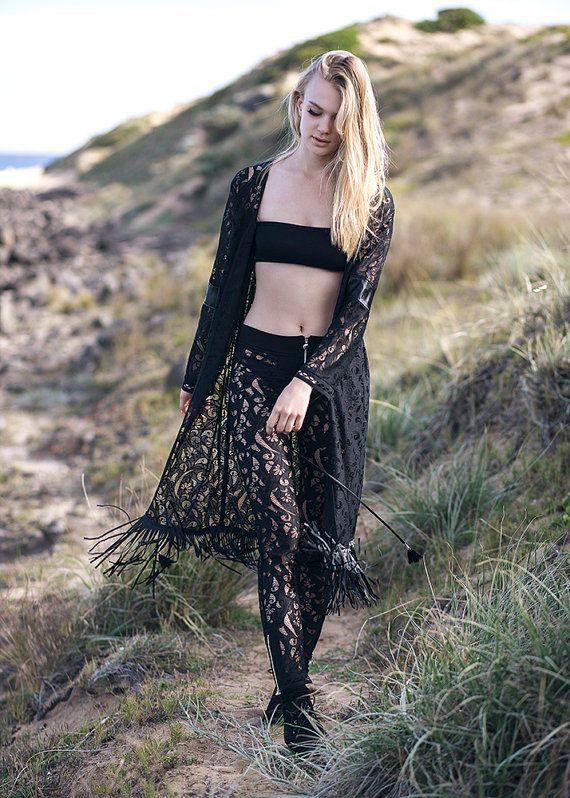 Cigarette trousers capri pants lace with floral pattern gold zips decorative ribbon boho rock style