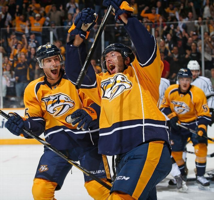 OCTOBER 17:  Matt Cullen #7 of the Nashville Predators celebrates his goal with Craig Smith #15