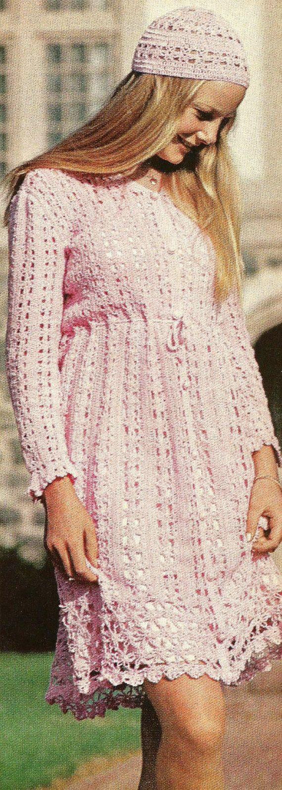 Instant PDF Digital Download Old Vintage Retro Crocheted Crocheting Crochet Pattern Instructions Flower Floral Lacy Patterned Dress Cap Hat