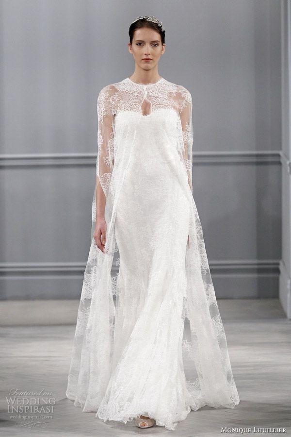 monique lhuillier spring 2014 bridal sandrine wedding dress lace cape