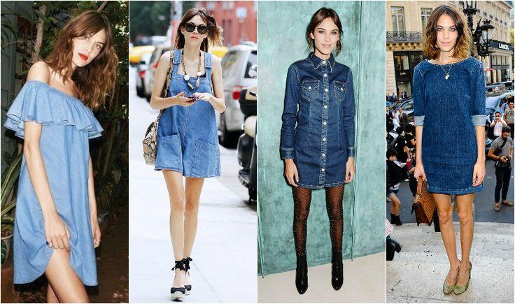Alexa chung jeansowa sukienka