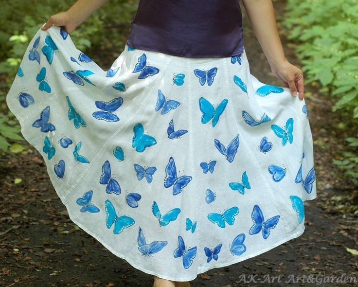 Ręcznie malowana spódnica w motyle, 100% len, na bawełnianej podszewce.  Hand painted skirt with butterflies, 100% linen, cotton lining.  Hand bemalt Rock mit Schmetterlingen, 100% Leinen, Baumwolle Futter :)