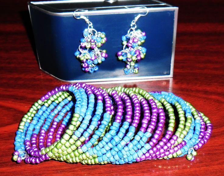 beautiful memory wire colorful bracelet & earrings