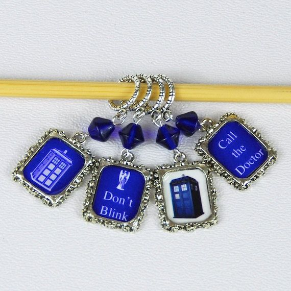 Doctor Who Stitch Markers on Etsy.